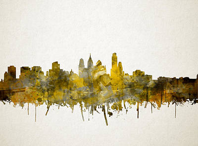 Painting - Philadelphia City Skyline Sepia by Bekim Art