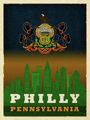 Philadelphia Mixed Media - Philadelphia City Skyline State Flag Of Pennsylvania Art Poster Series 014 by Design Turnpike
