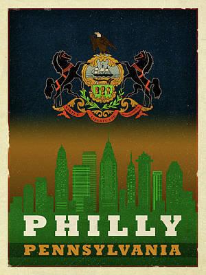 Flag Mixed Media - Philadelphia City Skyline State Flag Of Pennsylvania Art Poster Series 014 by Design Turnpike