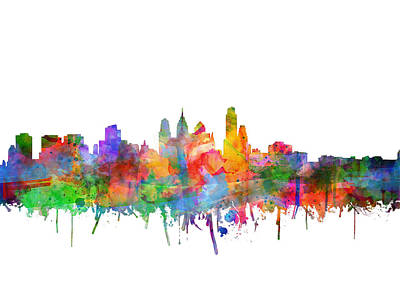 Painting - Philadelphia City Skyline Watercolor 3 by Bekim Art