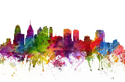 Philadelphia Skyline Digital Art - Philadelphia Cityscape 06 by Aged Pixel