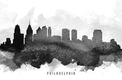 Philadelphia Skyline Digital Art - Philadelphia Cityscape 11 by Aged Pixel