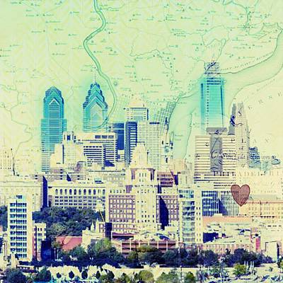 Philadelphia Skyline Mixed Media - Philadelphia Cityscape by Brandi Fitzgerald
