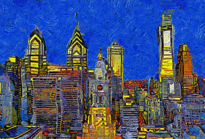 Painting - Philadelphia Colorful Skyline by Dan Sproul