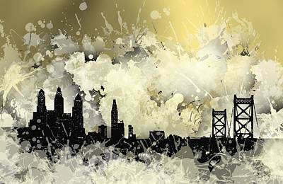Spot Digital Art - Philadelphia Cool Stain Skyline. by Alberto RuiZ