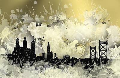 Illustration Digital Art - Philadelphia Cool Stain Skyline. by Alberto RuiZ
