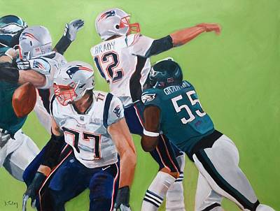 Painting - Philadelphia Eagles Strip-sack Of Tom Brady In Super Bowl Lii  by Donna Tuten