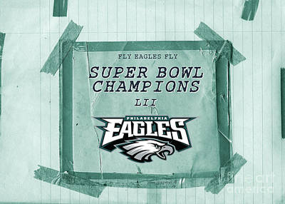 Photograph - Philadelphia Eagles Super Bowl Champions  L I I  Locker Room Tape Up Announcement Cropped by John Stephens