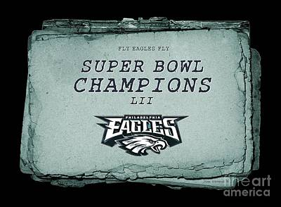 Photograph - Philadelphia Eagles Super Bowl Champions  L I I  Playbook With Transparent Background by John Stephens