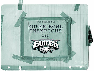 Photograph - Philadelphia Eagles Super Bowl Champions  L I I  Locker Room Tape Up Announcement by John Stephens