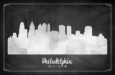 Philadelphia Skyline Digital Art - Philadelphia Est 1682 - Uspaph03 by Aged Pixel
