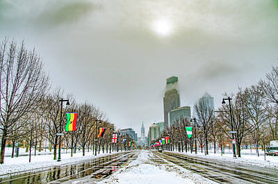 Benjamin Franklin Parkway Digital Art - Philadelphia - Hazy Shade Of Winter by Bill Cannon