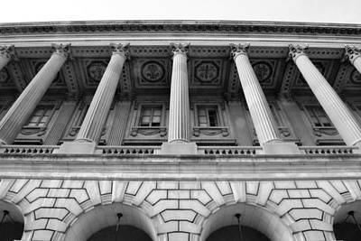 Photograph - Philadelphia Library Pillars - Black And White by Matt Harang