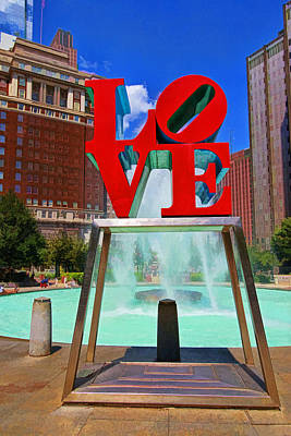 Philadelphia Scene Digital Art - Philadelphia Love Scuplture by Allen Beatty