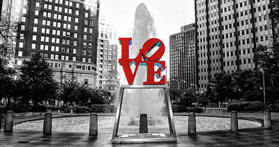 Photograph - Philadelphia - Love Statue - Black And White And Color by Bill Cannon