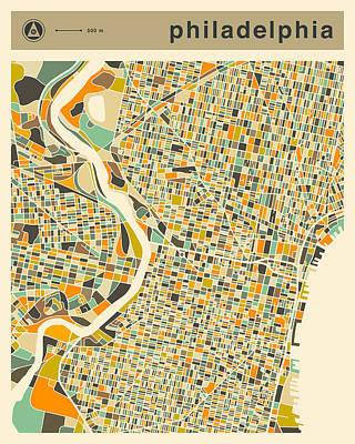 Philadelphia Map 2 Art Print by Jazzberry Blue