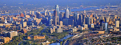 Aerial Photograph - Philadelphia Museum Of Art And City Skyline Aerial Panorama by Duncan Pearson