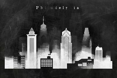 Philadelphia Negative Black And White Skyline Art Print by Dim Dom