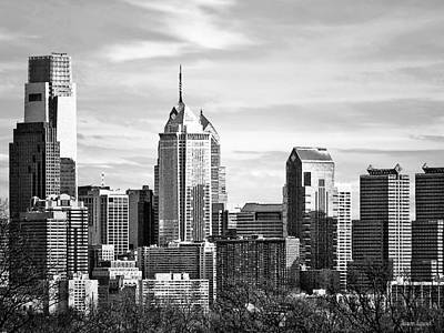 Philadelphia Pa Skyline II Black And White Art Print by Susan Savad