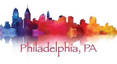 Brotherly Love Painting - philadelphia PA Skyline TShirts and Apparal by Loretta Luglio