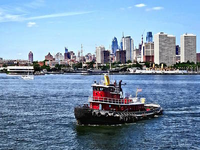 Photograph - Philadelphia Pa - Tugboat By Philadelphia Skyline by Susan Savad