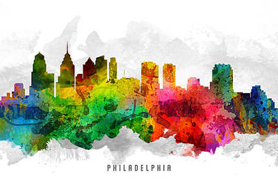 Philadelphia Skyline Painting - Philadelphia Pennsylvania Cityscape 12 by Aged Pixel