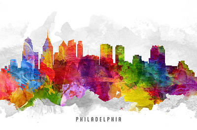 Philadelphia Skyline Painting - Philadelphia Pennsylvania Cityscape 13 by Aged Pixel