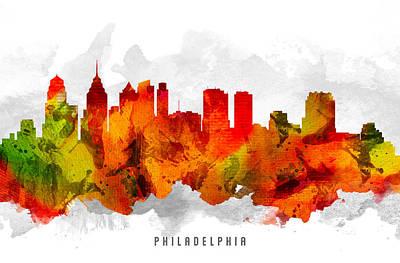 Philadelphia Skyline Painting - Philadelphia Pennsylvania Cityscape 15 by Aged Pixel