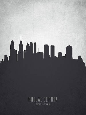 Philadelphia Skyline Painting - Philadelphia Pennsylvania Cityscape 19 by Aged Pixel