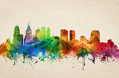 Skylines Paintings - Philadelphia Pennsylvania Skyline 05 by Aged Pixel