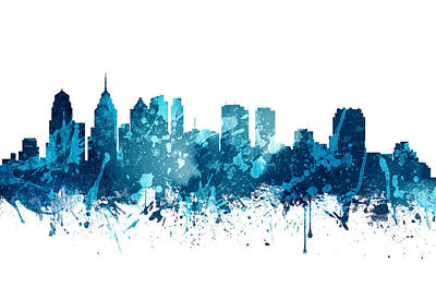 Skylines Paintings - Philadelphia Pennsylvania Skyline 19 by Aged Pixel