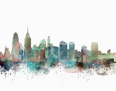 City Scape Painting - Philadelphia Pennsylvania Skyline  by Bri B