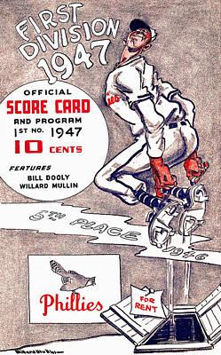 Philadelphia Phillies 1947 Scorecard Art Print by Big 88 Artworks
