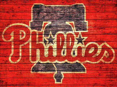 South Philadelphia Mixed Media - Philadelphia Phillies Barn Door by Dan Sproul