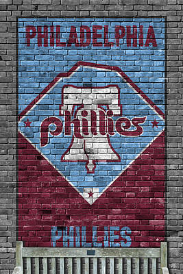 Baseball. Philadelphia Phillies Painting - Philadelphia Phillies Brick Wall by Joe Hamilton