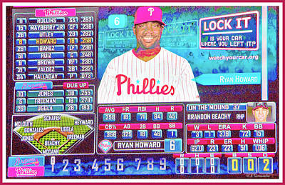 Photograph - Philadelphia Phillies Scoreboard, Ryan Howard by A Gurmankin