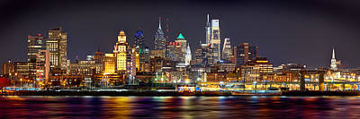 Panoramic Photograph - Philadelphia Philly Skyline At Night From East Color by Jon Holiday