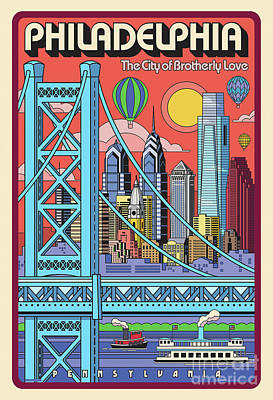 Digital Art - Philadelphia Pop Art Travel Poster by Jim Zahniser