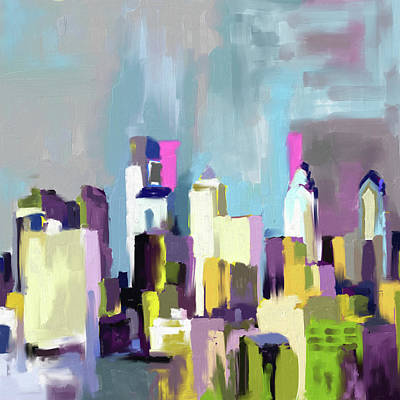 Philadelphia Painting - Philadelphia Skyline 650 1 by Mawra Tahreem