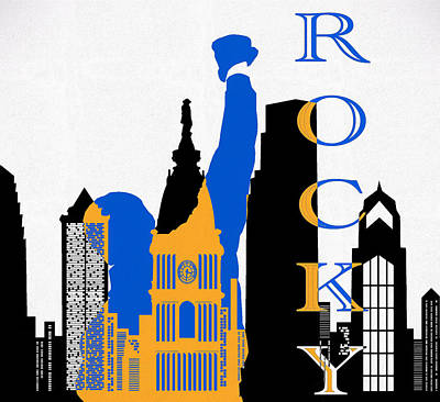 Skylines Mixed Media - Philadelphia Skyline And Rocky by Dan Sproul