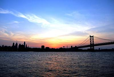 Photograph - Philadelphia Skyline And Sunset Blue Sky View With Ben Franklin Bridge  by Matt Harang