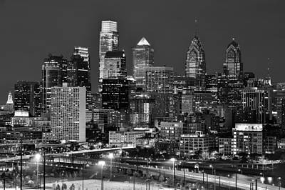 Philadelphia Skyline At Night Black And White Bw  Print by Jon Holiday