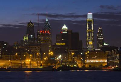 Philadelphia Skyline At Night Art Print by Brendan Reals