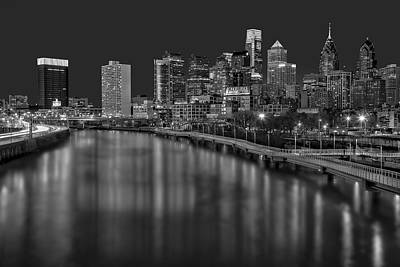 Philadelphia Skyline Photograph - Philadelphia Skyline At Night Bw by Susan Candelario