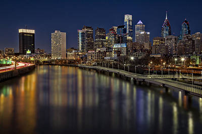 Photograph - Philadelphia Skyline At Night by Susan Candelario