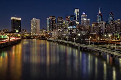 Philadelphia Skyline Photograph - Philadelphia Skyline At Night by Susan Candelario