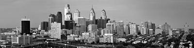 Photograph - Philadelphia Skyline Black And White Bw Wide Pano by Jon Holiday