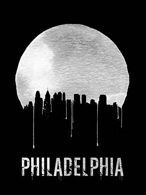 Panorama Painting - Philadelphia Skyline Black by Naxart Studio