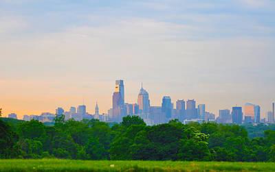 Phila Digital Art - Philadelphia Skyline From West Lawn Of Fairmount Park by Bill Cannon
