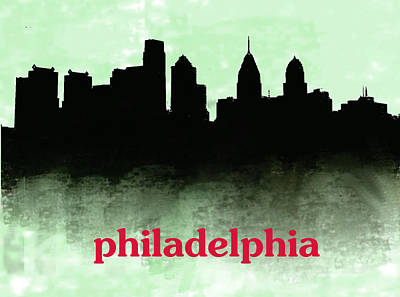 Philadelphia Skyline Painting - Philadelphia Skyline Green  by Enki Art